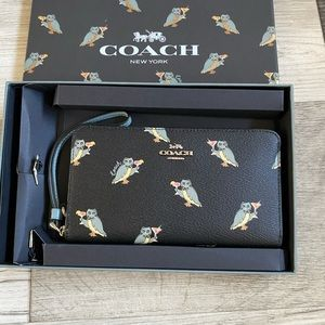Coach Phone Wallet With Party Owl Print